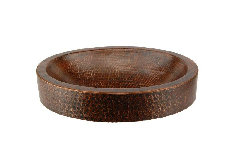 Premier Copper Products VO17SKDB Compact Oval Skirted Vessel Hammered Copper Sink Oil Rubbed Bronze