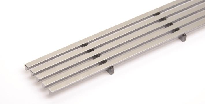 "Quick Drain LINES 84"" Drain Cover, Brushed Stainless Steel"