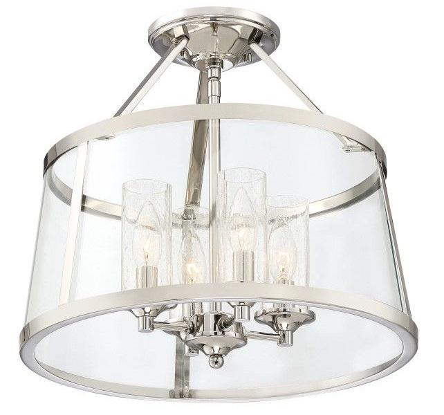 "Quoizel BAW1716PK Barlow Semi Flush 16""D Polished Nickel"