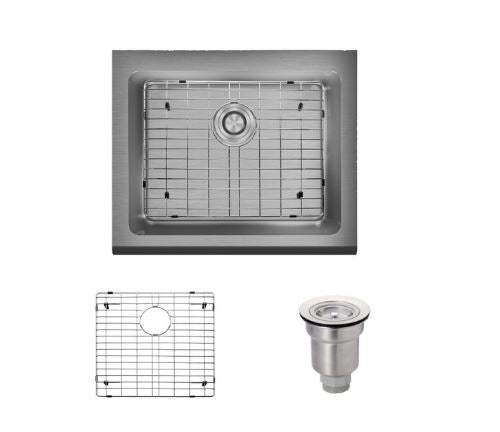 Rene R1-3004-16 Single Bowl Stainless Steel Apron Kitchen Sink in 16-Gauge with Grid and Basket Strainer