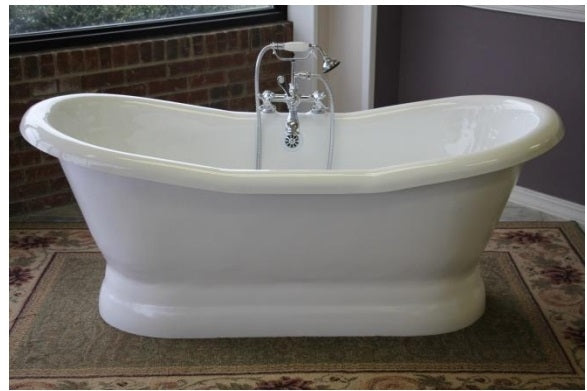 "Restoria Empress 68"" Double Acrylic Slipper Pedestal Bath Tub"