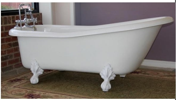 "Restoria Imperial 66"" Slipper Acrylic Clawfoot Bath Tub"