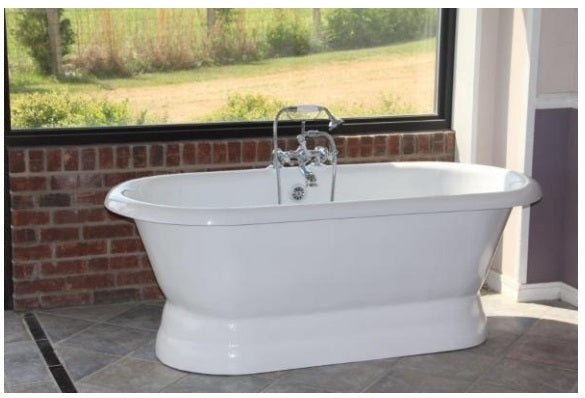 "Restoria Majesty 66"" Double-ended Acrylic Pedestal Bath Tub"