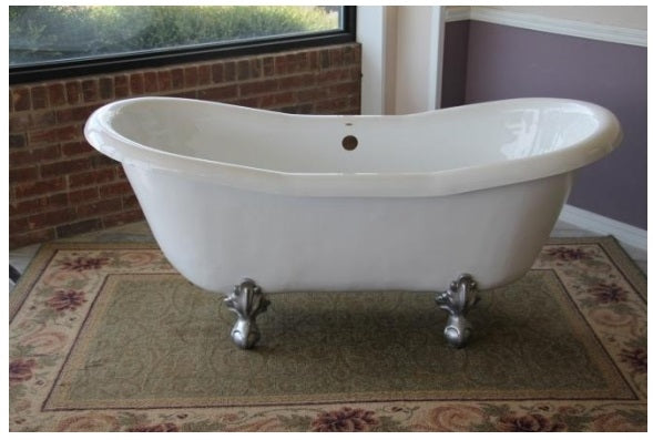 "Restoria Duchess 68"" Double Slipper Acrylic Clawfoot Bath Tub"