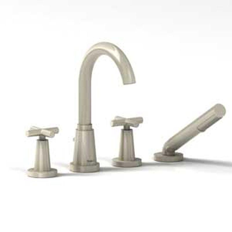 Riobel Pallace Collection PA12-BN 4-piece deck-mount tub filler w/ hand shower Brushed Nickel