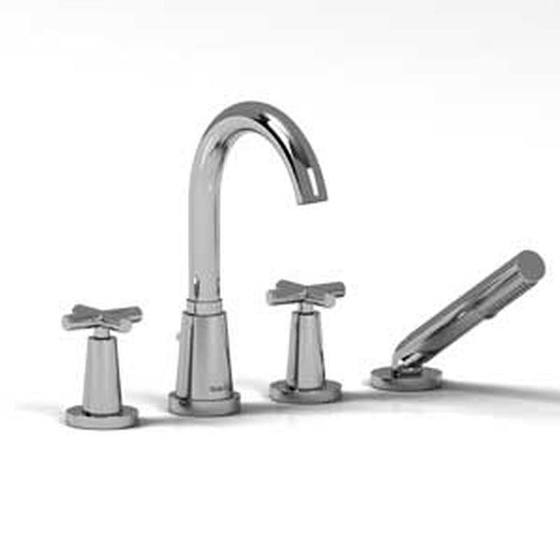 Riobel Pallace Collection PA12-C 4-piece deck-mount tub filler w/ hand shower Chrome