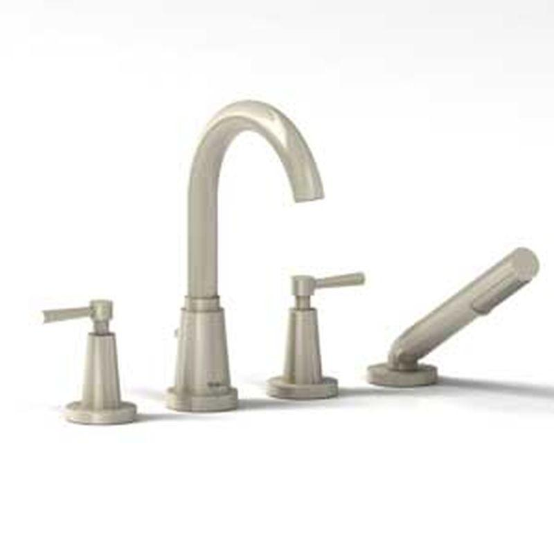Riobel Pallace Collection PA12LBN 4-Piece Deck-Mount Tub Filler w/ Hand Shower Brushed Nickel