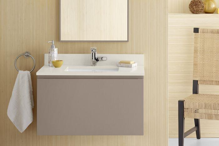 "Ronbow 017831-E01 Ariella 31"" Wall Mount Bathroom Vanity Base Cabinet - Blush Taupe"