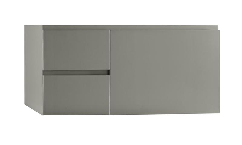 "Ronbow 018936-R-E12 Vanessa 36"" Wall Mount Bathroom Vanity Base Cabinet - Slate Gray - Large Drawer on Right"