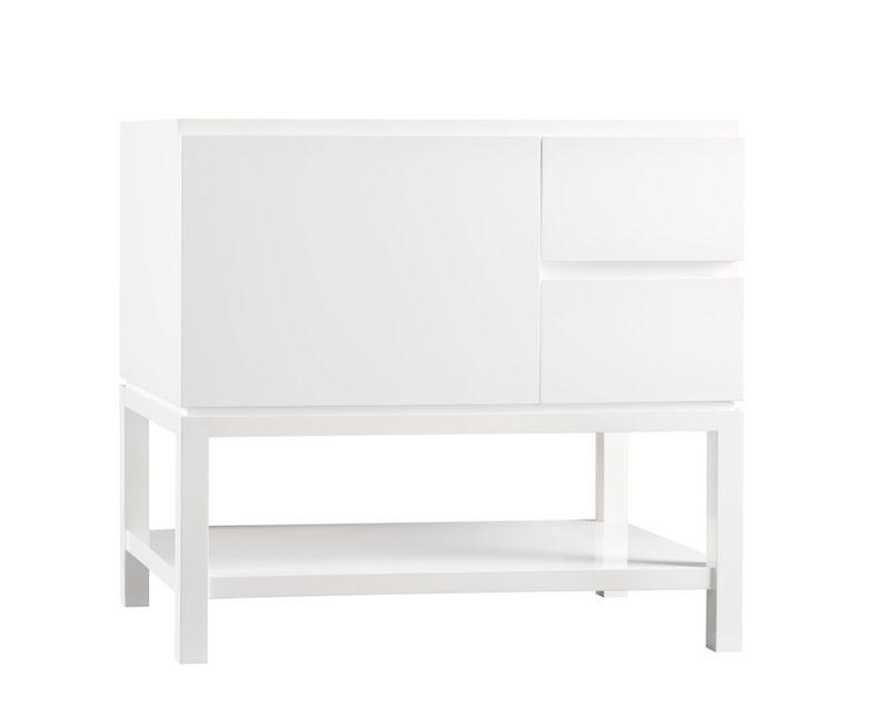 "Ronbow 036036-L-E23 Chloe 36"" Bathroom Vanity Base Cabinet - Glossy White - Large Drawer on Left"