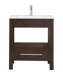 "Azzuri CITYLOFT-VS30-LE CityLoft 31"" Vanity in Espresso finish with Integrated White Vitreous China Top"
