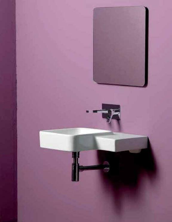Simas SIFL21WG FL21 Simas Flow Square Wallhung Basin 23In, Bianco Gloss