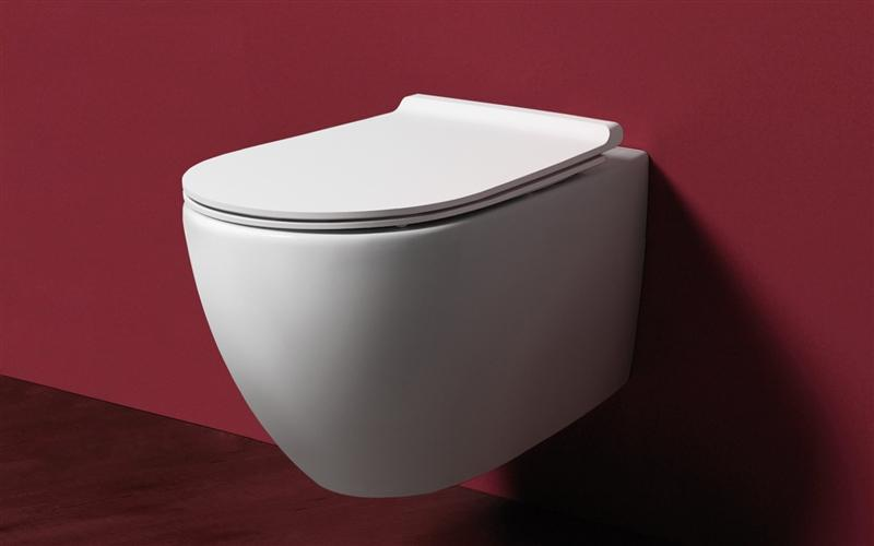 Simas SIVI18CAN VI18C Simas Vignoni Rimless Wall Toilet & Seat, Anthrocite