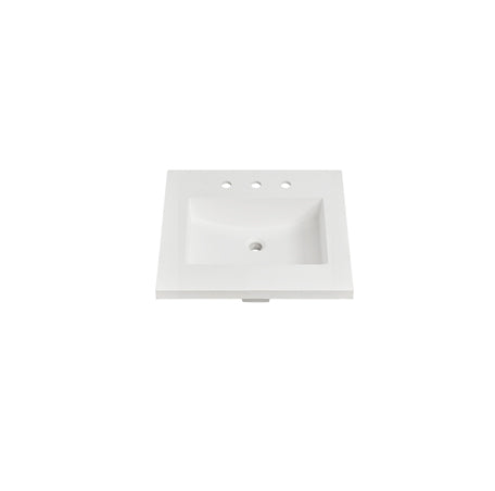 "Fairmont Designs TS4-S2522MW8 4cm (1- 1/2"") 25"" Matte White (MW) Solid Surface Top - 8"" spread"