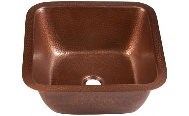 Thompson Traders 1SAC Antique Copper Picasso Square Hand Hammered Copper Prep-Sink