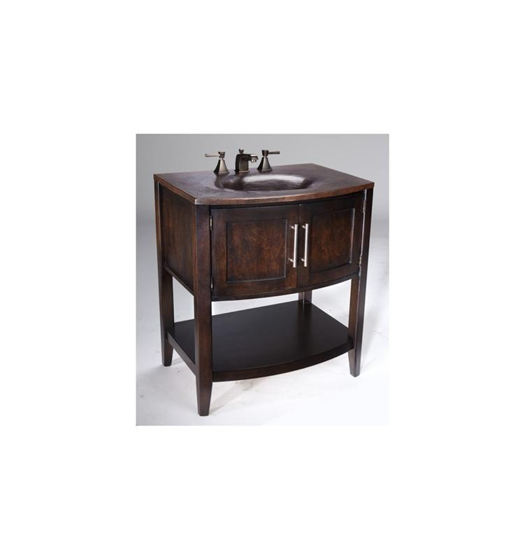 Thompson Traders VT-BC Verisimo Wood Vanity w/ Handcrafted Integrated Sink in Black Copper