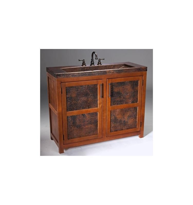 Thompson Traders VTL Grande Rustic Wood Vanity w/ Handcrafted Integrated Sink in Black Copper