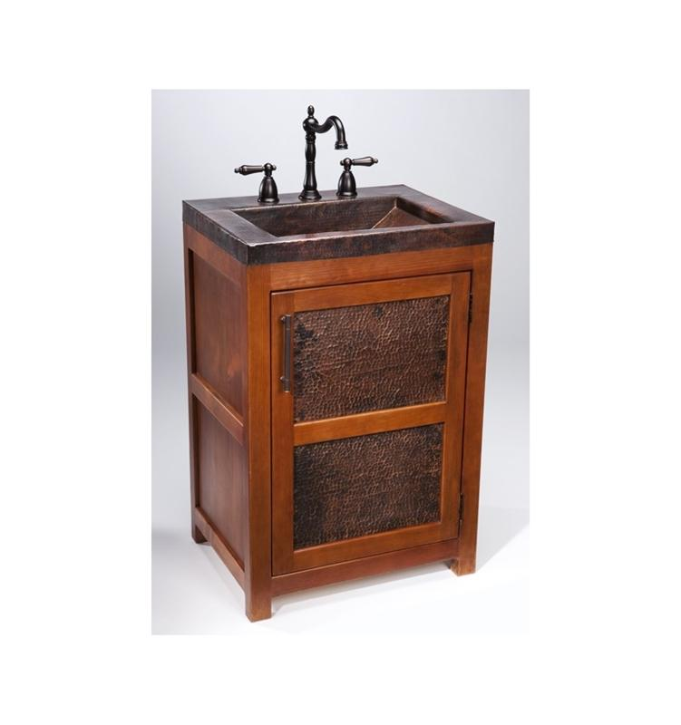 Thompson Traders VTS Petit Rustic Wood Vanity w/ Handcrafted Integrated Sink in Black Copper