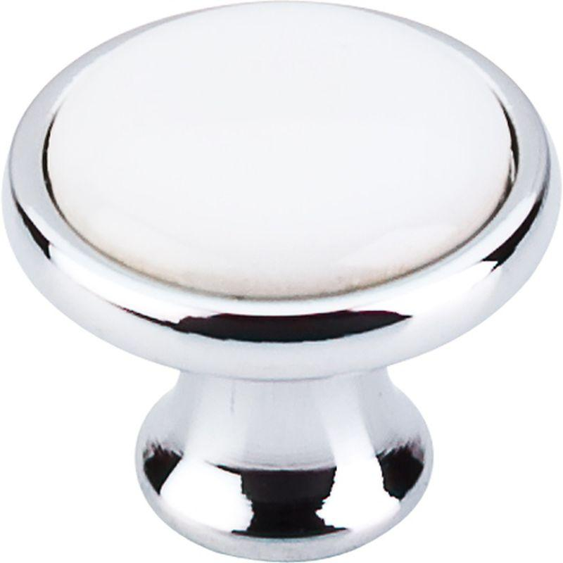 "Top Knobs M421 Nouveau Ceramic Knob 1 1/4"" - Polished Chrome & White Ceramic"