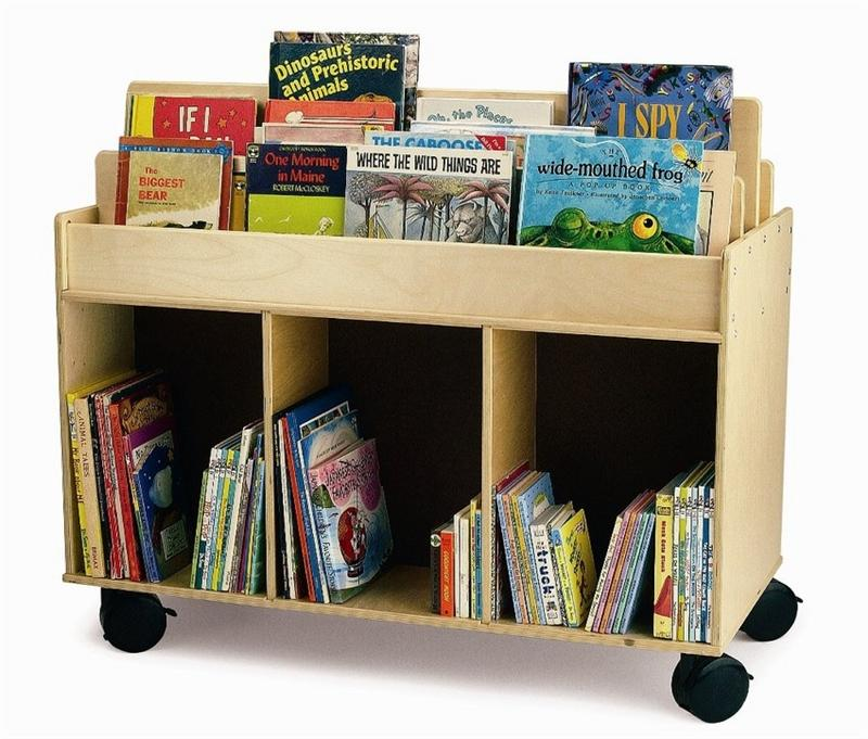 Whitney Brothers WB0383 Mobile Book Storage Island Natural UV
