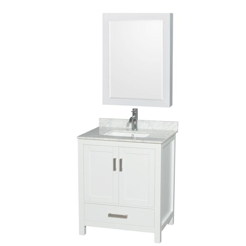 "Wyndham Sheffield 30"" Single Bathroom Vanity in White, White Carrara Marble Countertop, Undermount Square Sink, and Medicine Cabinet"