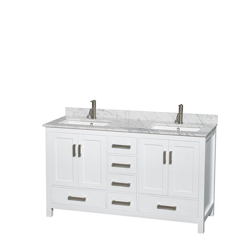 "Wyndham Sheffield 60"" Double Bath Vanity White White Carrera Marble Countertop Undermount Square Sinks and No Mirror"
