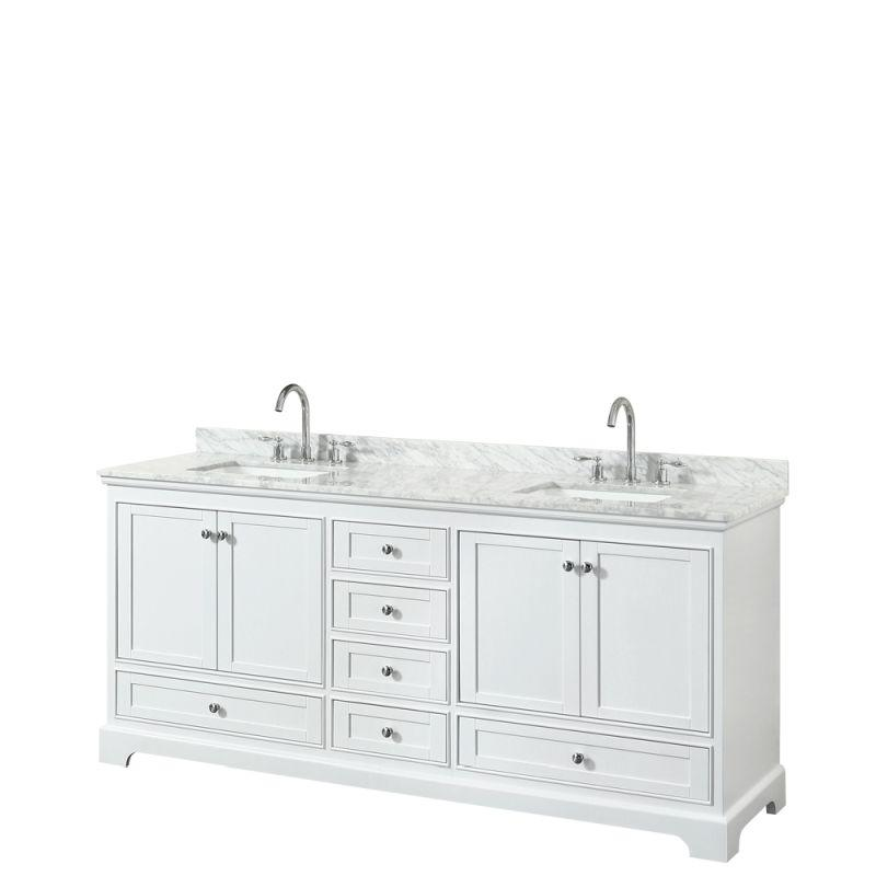 "Wyndham WCS202080DWHCMUNSMXX Deborah 80"" Double Bathroom Vanity in White, White Carrara Marble Countertop, Undermount Square Sinks, and No Mirror"