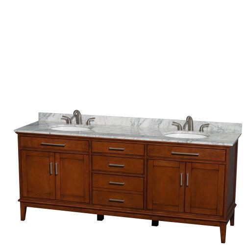 "Wyndham Hatton 80"" Double Bath Vanity Light Chestnut White Carrera Marble Countertop Undermount Oval Sinks and No Mirror"