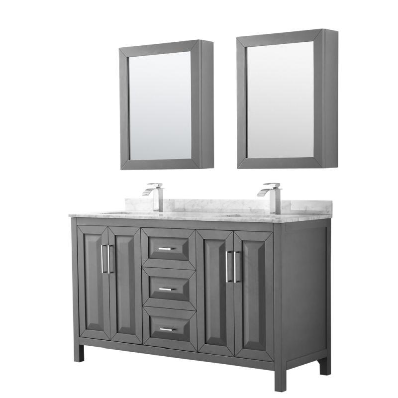 "Wyndham WCV252560DKGCMUNSMED Daria 60"" Double Bathroom Vanity in Dark Gray, White Carrara Marble Countertop, Undermount Square Sinks, and Medicine Cabinets"