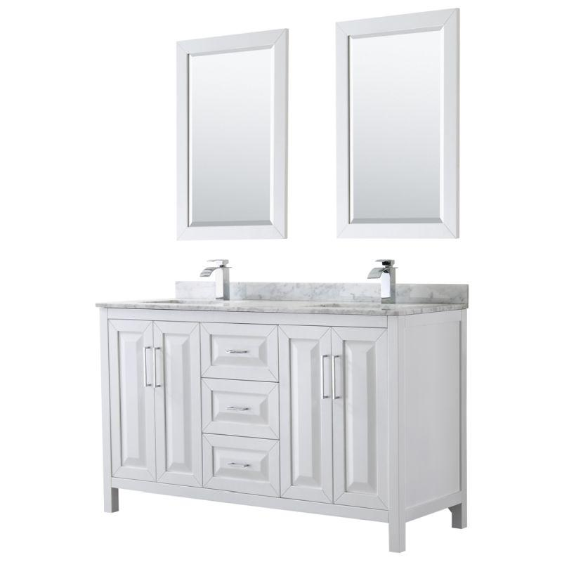 "Wyndham WCV252560DWHCMUNSM24 Daria 60"" Double Bathroom Vanity in White, White Carrara Marble Countertop, Undermount Square Sinks, and 24"" Mirrors"