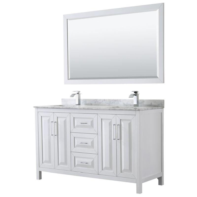 "Wyndham WCV252560DWHCMUNSM58 Daria 60"" Double Bathroom Vanity in White, White Carrara Marble Countertop, Undermount Square Sinks, and 58"" Mirror"