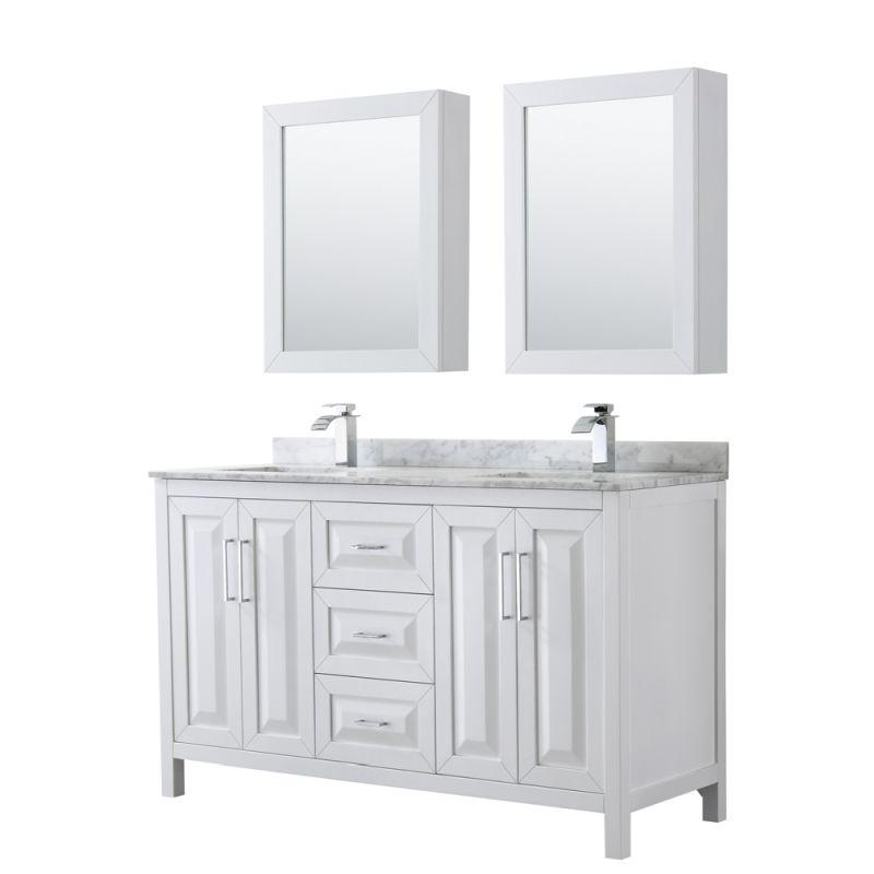 "Wyndham WCV252560DWHCMUNSMED Daria 60"" Double Bathroom Vanity in White, White Carrara Marble Countertop, Undermount Square Sinks, and Medicine Cabinets"