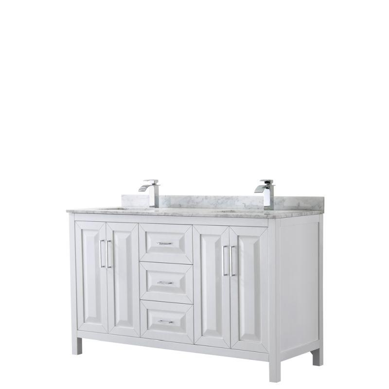 "Wyndham WCV252560DWHCMUNSMXX Daria 60"" Double Bathroom Vanity in White, White Carrara Marble Countertop, Undermount Square Sinks, and No Mirror"
