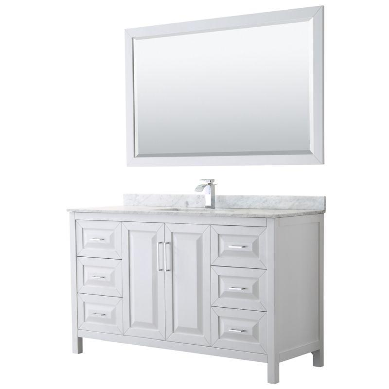 "Wyndham WCV252560SWHCMUNSM58 Daria 60"" Single Bathroom Vanity in White, White Carrara Marble Countertop, Undermount Square Sink, and 58"" Mirror"