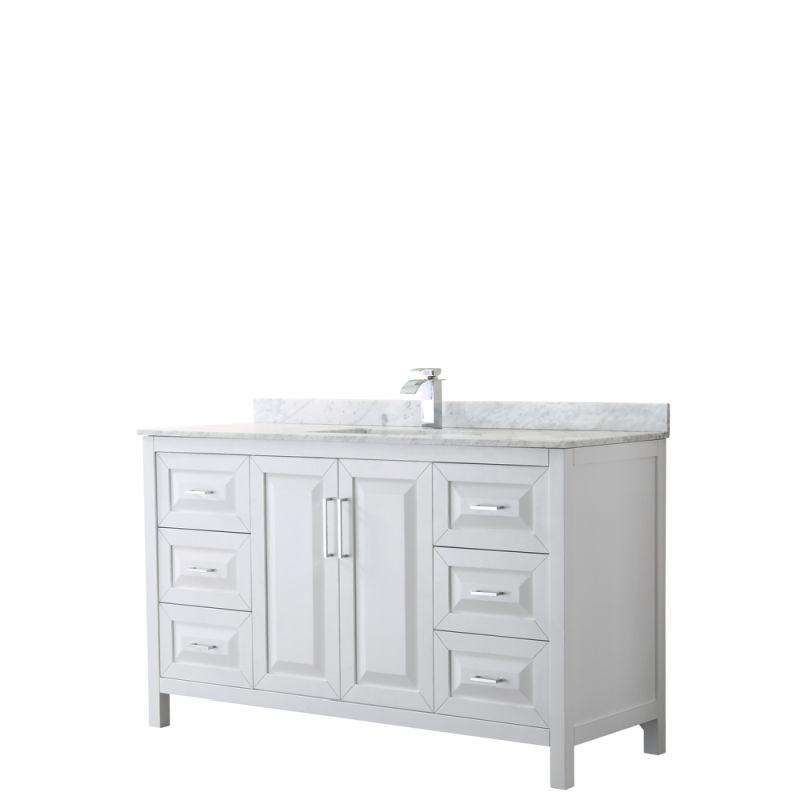 "Wyndham WCV252560SWHCMUNSMXX Daria 60"" Single Bathroom Vanity in White, White Carrara Marble Countertop, Undermount Square Sink, and No Mirror"