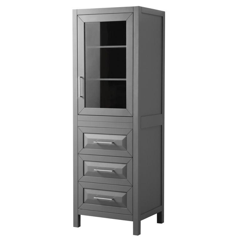 Wyndham WCV2525LTKG Daria Linen Tower in Dark Gray with Shelved Cabinet Storage and 3 Drawers