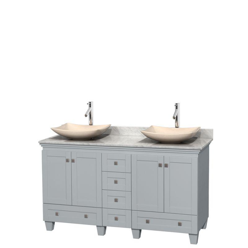 "Wyndham WCV800060DOYCMGS5MXX Acclaim 60"" Double Bathroom Vanity in Oyster Gray, White Carrera Marble Countertop, Arista Ivory Marble Sinks, and No Mirrors"