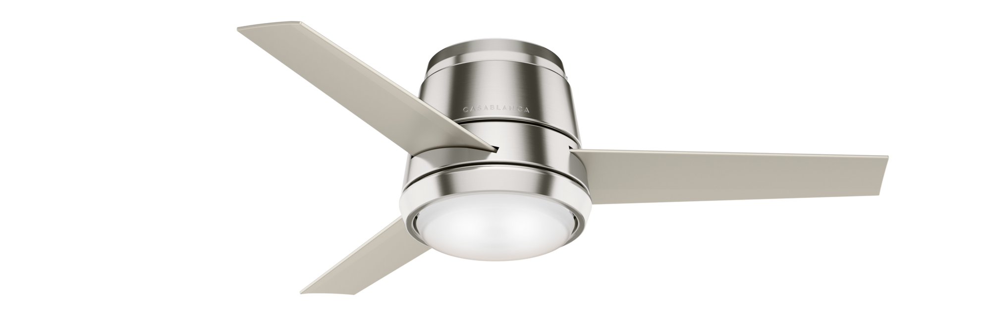 Casablanca Indoor Low Profile Commodus Ceiling Fan with LED LightJD inch, Brushed Nickel/Chrome, 59570