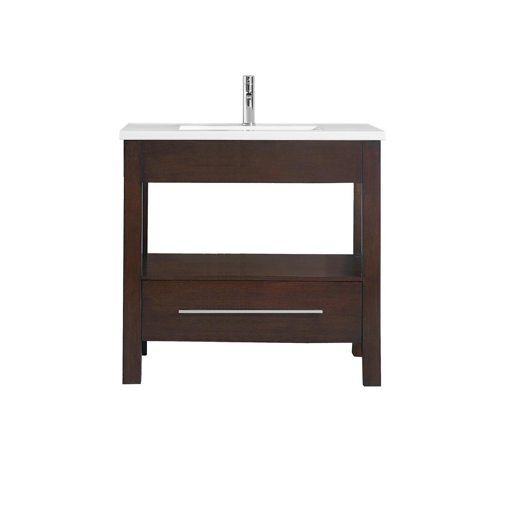 "Azzuri CITYLOFT-VS36-LE CityLoft 37"" Vanity in Espresso finish with Integrated White Vitreous China Top"