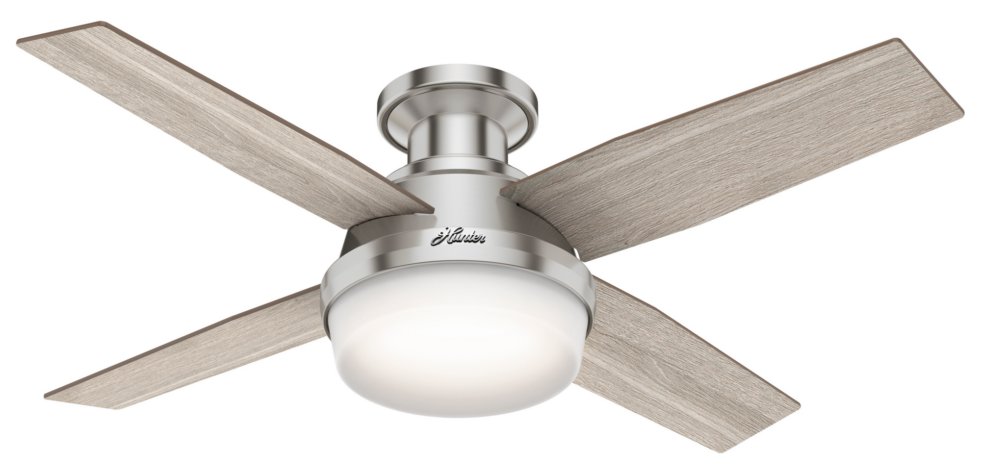 Hunter Indoor Low Profile Dempsey Ceiling Fan with LED LightJD inch, Brushed Nickel/Chrome, 50282