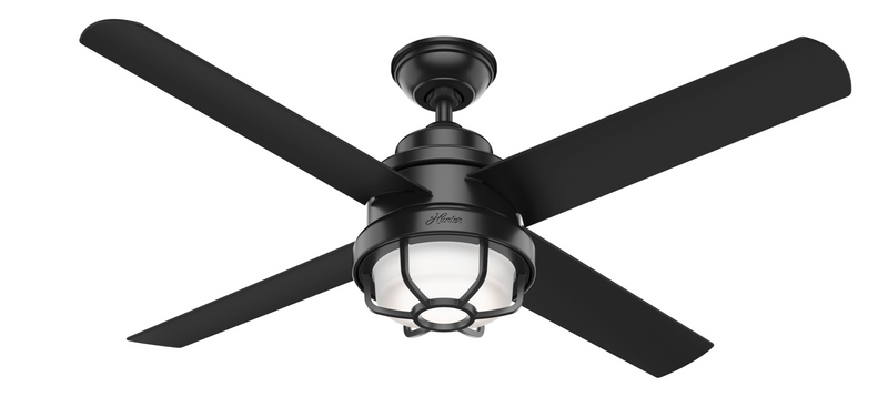 Hunter Indoor/Outdoor Searow Ceiling Fan with LED LightJD inch, Black, 55086