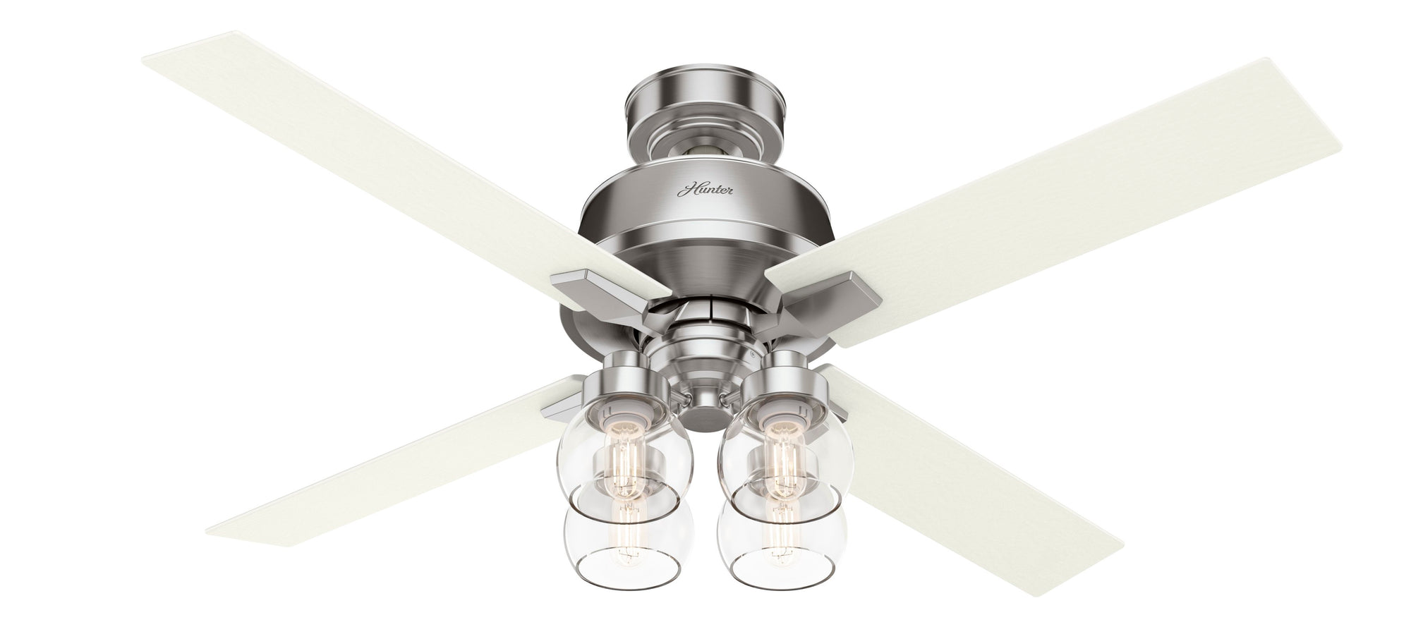 Hunter Indoor Astor Ceiling Fan with LED LightJD inch, Brushed Nickel/Chrome, 59650