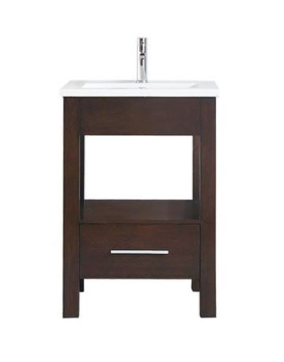 "Azzuri CITYLOFT-VS24-LE CityLoft 25"" Vanity in Espresso finish with Integrated White Vitreous China Top"