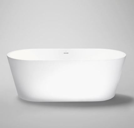 "Blu Bathworks BT0304-01M Coco 67"" Blu Stone Freestanding Oval Bathtub White Matte"
