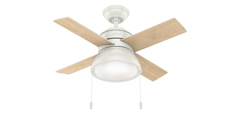 Hunter Indoor Loki Ceiling Fan with LED LightJD inch, White, 59385