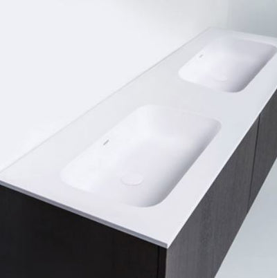 "Blu Bathworks SA1800-01G Blu Stone 71"" Integrated Countertop & Double Sink 1/2"" Thickness White Gloss"