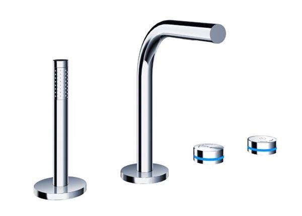 Blu Bathworks TEP421.01 Pure 2 Electronica Four-Hole Deck-Mounted Thermostatic Tubfiller With Handshower & Flexible Hose