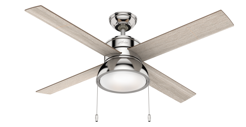 Hunter Indoor Loki Ceiling Fan with LED LightJD inch, Brushed Nickel/Chrome, 54153