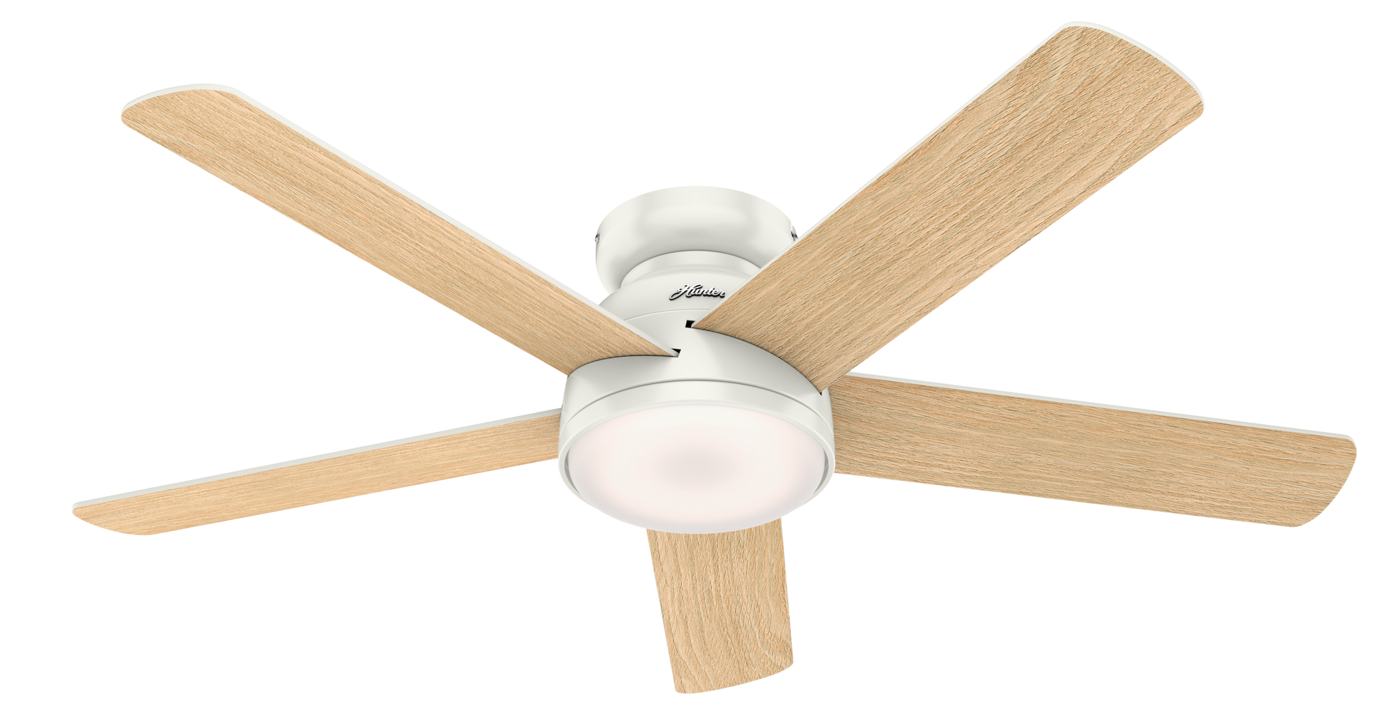 Hunter Indoor Low Profile Romulus Ceiling Fan with LED LightJD inch, White, 59481