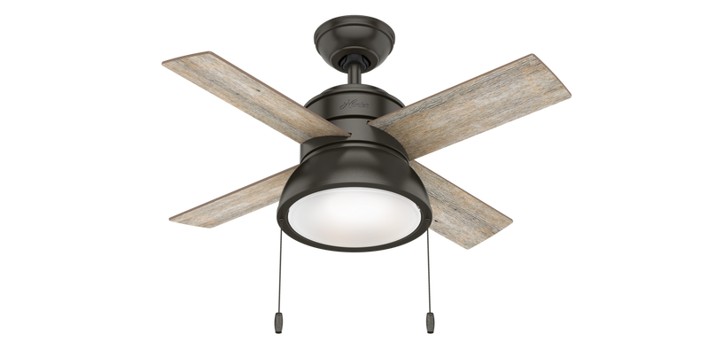 Hunter Indoor Loki Ceiling Fan with LED LightJD inch, Bronze/Brown, 59387